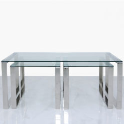 Set Of 1 Harper Steel And Clear Glass Coffee Table And 2 End Tables
