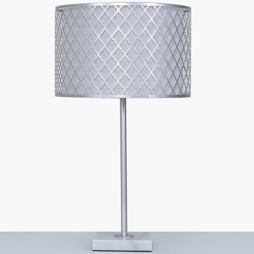 Silver Metal And Marble Table Lamp With Marrakech Mesh Shade