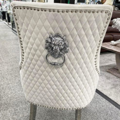 Camilla Silver Velvet And Chrome Dining Chair With Lion Ring Knocker