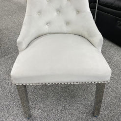 Silver Velvet And Chrome Dining Chair With Lion Ring Knocker