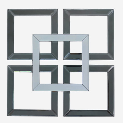 Small Geo Smoked And Silver Mirrored Glass Wall Art 40cm