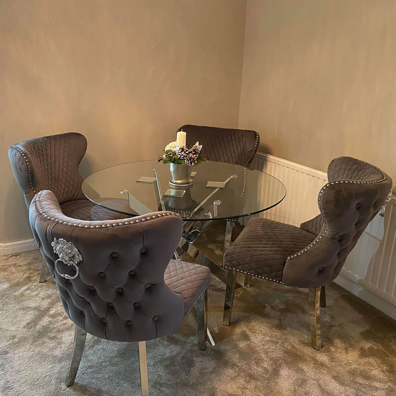 Wide Grey Velvet And Chrome Dining Chair With Lion Ring