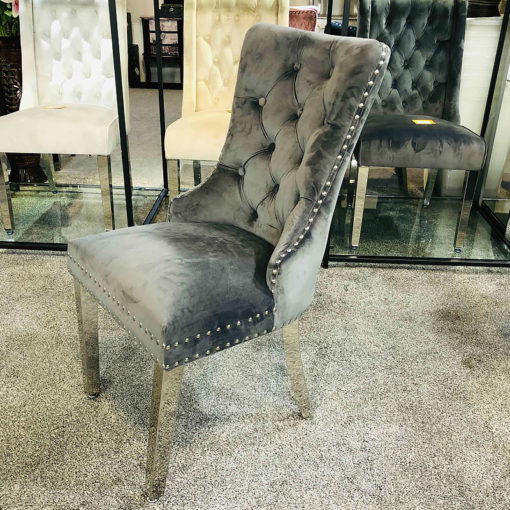 Allegra Grey Velvet And Chrome Tufted Dining Chair With Ring Knocker