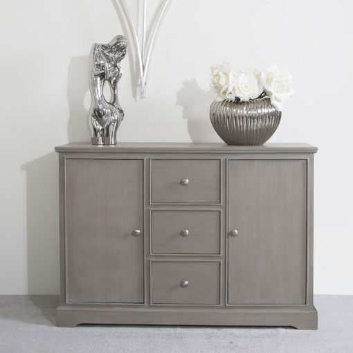 Arabella Taupe Wood 3 Drawer 2 Door Sideboard Cabinet Chest Of Drawers