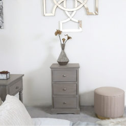 Arabella Taupe Wood 3 Drawer Bedside Cabinet Bedside Table