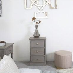 Arabella Taupe Wood 3 Drawer Bedside Cabinet Bedside Table
