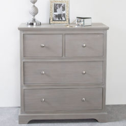 Arabella Taupe Wood 4 Drawer Cabinet Sideboard Chest Of Drawers