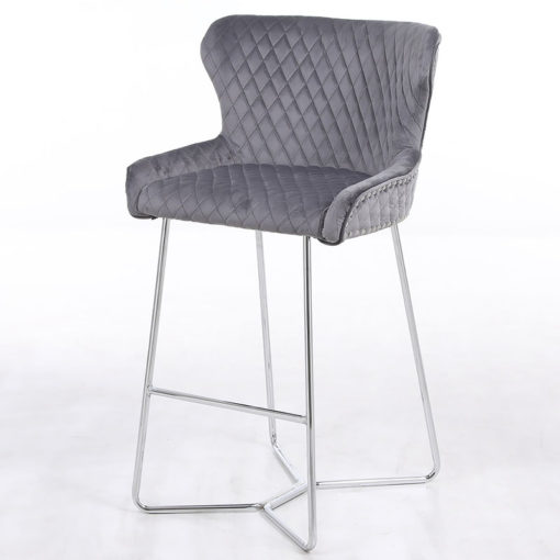 Aubrey Grey Velvet Bar Stool With Studded Detail And Chrome Legs
