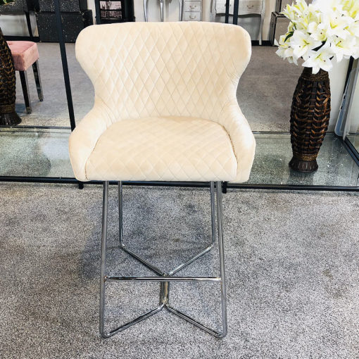 Aubrey Mink Velvet Bar Stool With Studded Detail And Chrome Legs