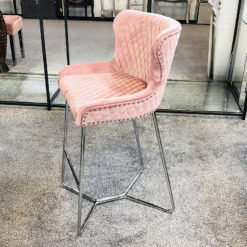 Aubrey Pink Velvet Bar Stool With Studded Detail And Chrome Legs