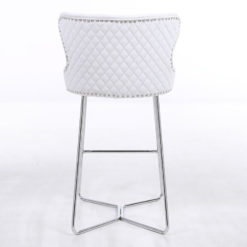 Aubrey Silver Velvet Bar Stool With Studded Detail And Chrome Legs