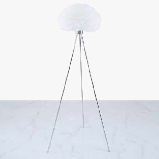 Chrome Tripod Floor Lamp With White Feather Shade