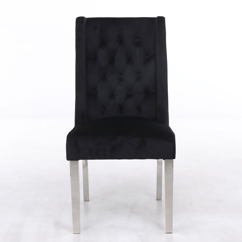 Felicity Black Velvet Dining Chair With Chrome Legs And Ring Knocker Picture Perfect Home