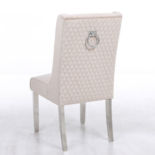 Felicity Mink Velvet Dining Chair With Chrome Legs And Ring Knocker