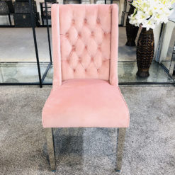 Felicity Pink Velvet Dining Chair With Chrome Legs And Ring Knocker