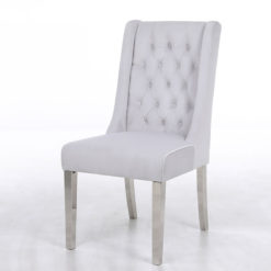 Felicity Silver Velvet Dining Chair With Chrome Legs And Ring Knocker