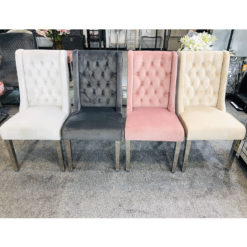 Felicity Velvet Dining Chairs With Chrome Legs And Ring Knocker