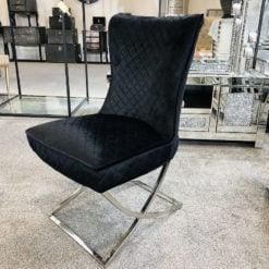Hepburn Black Velvet Tufted Back Dining Chair With Curved Chrome Legs