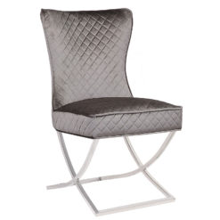Hepburn Grey Velvet Tufted Back Dining Chair With Curved Chrome Legs