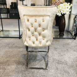 Hepburn Gold Velvet Tufted Back Dining Chair With Curved Chrome Legs