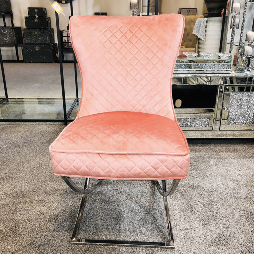 Hepburn Pink Velvet Tufted Back Dining Chair With Curved Chrome Legs