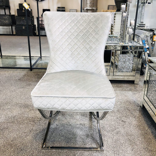 Hepburn Silver Velvet Tufted Back Dining Chair With Curved Chrome Legs