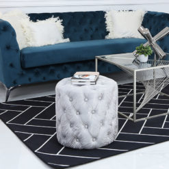 Round Silver Fabric Deeply Padded Stool Ottoman With Tufted Buttons