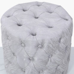 Round Silver Velvet Deeply Padded Stool Ottoman With Tufted Buttons