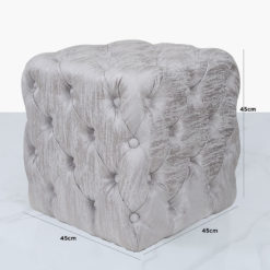 Silver Velvet Deeply Padded Stool Ottoman With Tufted Buttons