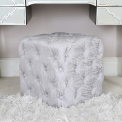 Silver Fabric Deeply Padded Stool Ottoman With Tufted Buttons