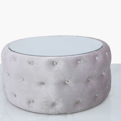 Soft Pink Velvet Coffee Table With Tufted Buttons And Mirrored Top