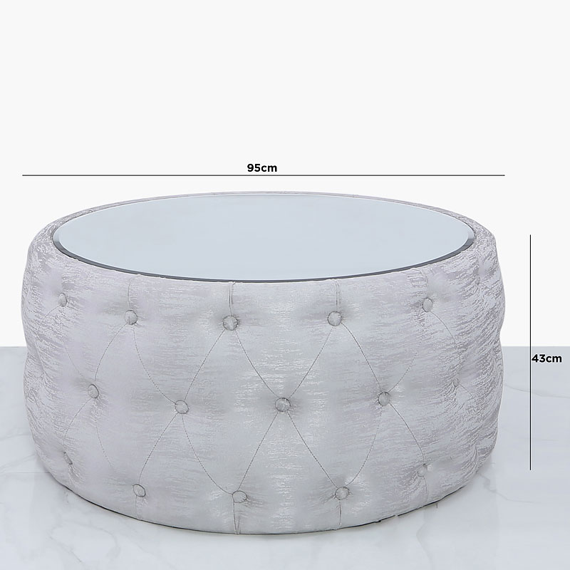 Soft Silver Fabric Coffee Table With Tufted Buttons And Mirrored Top Picture Perfect Home