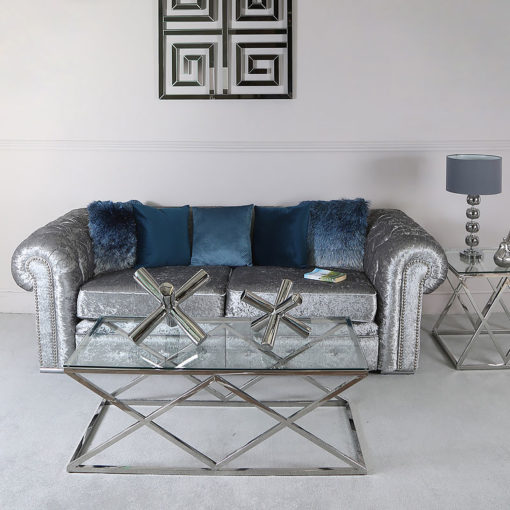 Antoinette Stainless Steel And Glass Coffee Table