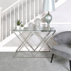 Antoinette Stainless Steel And Glass Console Table Hallway Table
