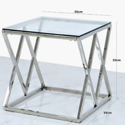 Antoinette Stainless Steel And Glass End Side Table