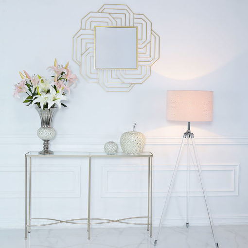 Art Deco Gold Wall Mirror 90cm