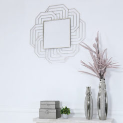 Art Deco Silver Wall Mirror 90cm