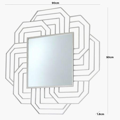 Art Deco Silver Wall Mirror 90cm
