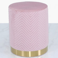 Blush Pink Patterned Velvet And Gold Metal Round Footstool Ottoman