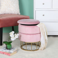 Blush Pink Velvet And Gold Metal Round Storage Ottoman Stool