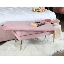 Blush Pink Velvet And Gold Metal Storage Ottoman Bench