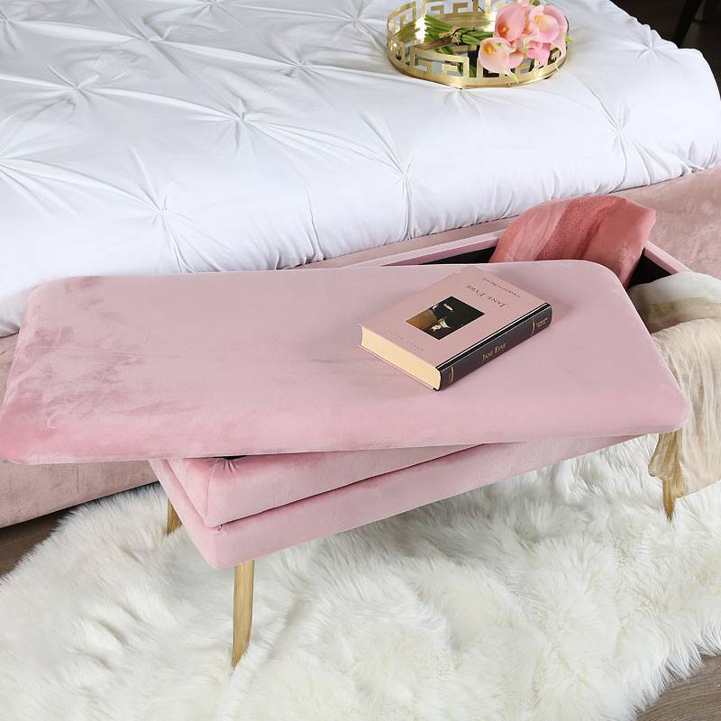 Blush Pink Velvet And Gold Metal Storage Ottoman Bench Picture Perfect Home