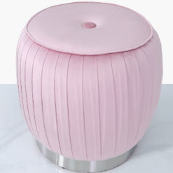 Blush Pink Velvet And Stainless Steel Round Footstool Ottoman