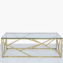 Claudette Gold Metal And Glass Coffee Table