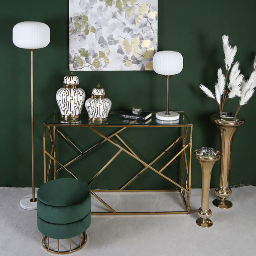 Claudette Gold Metal And Glass Console Table Hallway Table