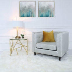 Claudette Gold Metal And Glass End Side Table