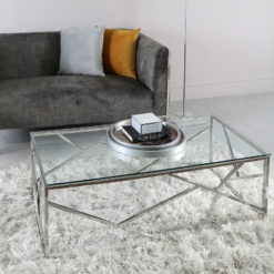 Claudette Stainless Steel And Glass Coffee Table