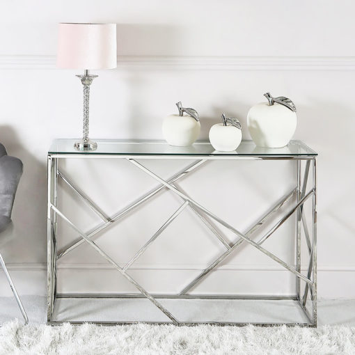 Claudette Stainless Steel And Glass Console Table Hallway Table