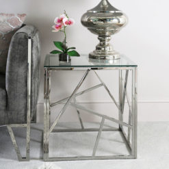 Claudette Stainless Steel And Glass End Side Table