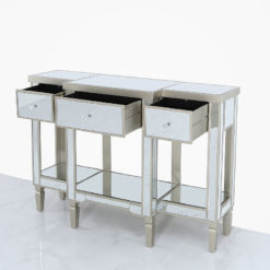 Georgia Champagne Luxe Mirrored 3 Drawer Console Table Dressing Table